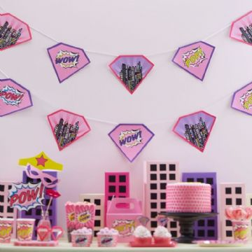 Pink Pop Art Superhero Bunting - 4M